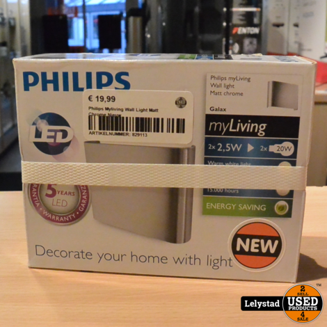 Philips Myliving Wall Light Matt Chrome Nieuw
