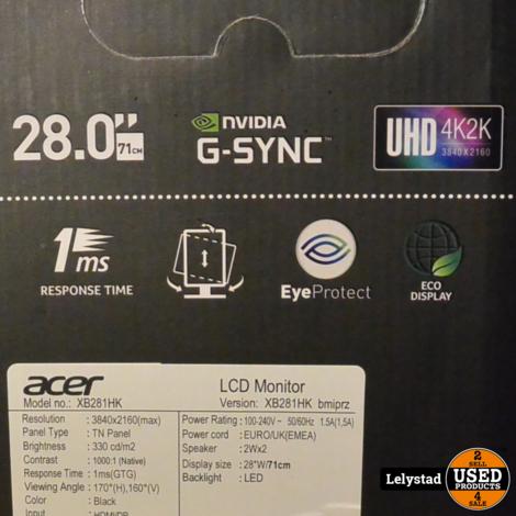 Acer 28inch XB281HK Predator Gaming Monitor 1MS 4K Incl Bon