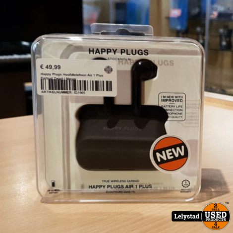 Happy Plugs Hoofdtelefoon Air 1 Plus Earbud Zwart | Nieuw