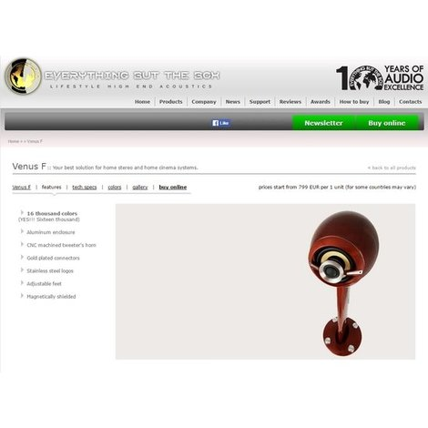 EBTB Venus F  High Performance loudspeakerset. Colour: silver NIEUW (elders €. 1.799,-)