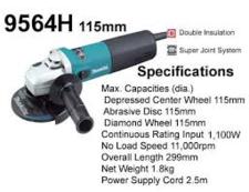 Makita 9564H 230 V Haakse slijper SJS 115 mm