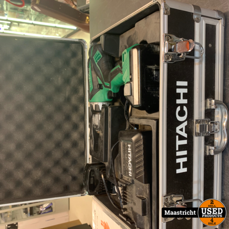 Hitachi DS 18DJL Accuboormachine 18v, in koffer met lade met bitjes ed.