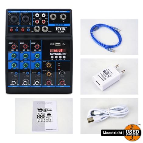 Eyk ECR4 Audio Mixer / interface met geluidskaart, 4 Kanaals mixing console met Bluetooth, Usb | WIT