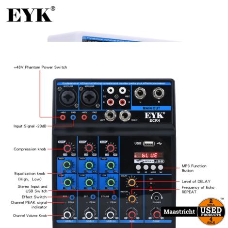 Eyk ECR4 Audio Mixer / interface met geluidskaart, 4 Kanaals mixing console met Bluetooth, Usb | ZWART