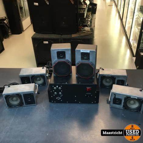 Elektuur prototype: set van 2 mikro-boxen, met prima AUDAX speakers erin, met muurbeugel