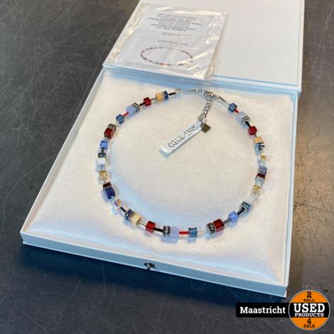 Coeur de Lion ketting edelstenen blauw rood,  GeoCUBE collier 4905-10-0703 | nwpr 199 euro