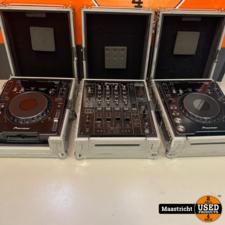 Pioneer DJ-set: 2x CDJ-1000MK3 + DJM-800 in goede staat met flightcases