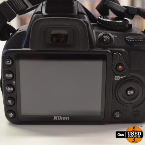 Nikon D3100 Digitale Spiegelreflexcamera met DX 18-55mm lens - incl. lader, 1x accu, 4GB SD-kaart, lens-/mountdop, handleiding - Shuttercount slechts 589