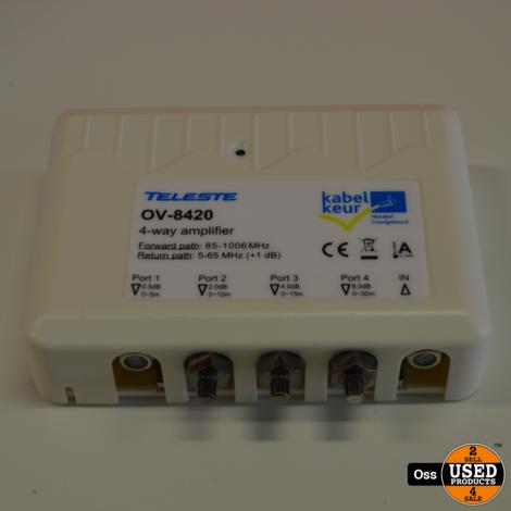 NIEUW IN DOOSJE: Teleste OV-8420 kabelversterker - 4-weg versterker - doosje beschadigd, inhoud nieuw