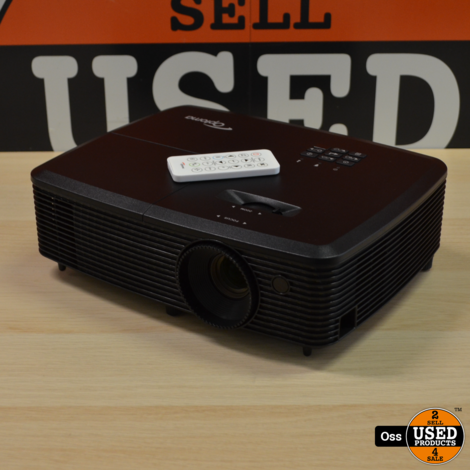 ZGAN IN DOOS: Optoma S331 DLP Beamer 3D incl. stroomkabel, doos, afstandsbediening en handleiding (disc) - 14 branduren!