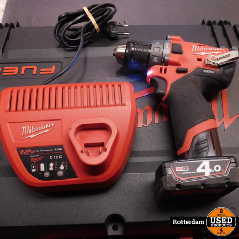 Milwaukee M12 FPD Slagboormachine 12V / 4Ah | inclusief koffer