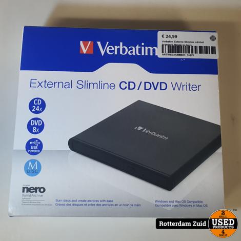 Verbatim Externe Slimline cd/dvd brander|| Nieuw in doos