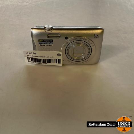 NIkon Coolpix s3700 Zilver II met garantie