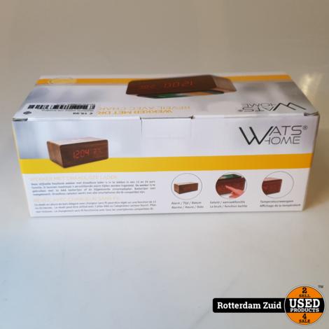 Watshome wekker met draadloze oplader voor telefoon nieuw in doos