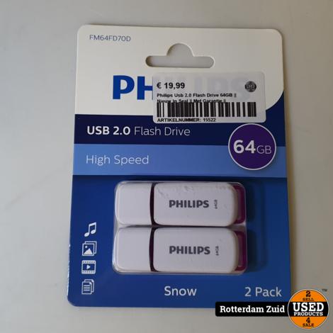 Philips Usb 2x 64GB    Nieuw In Seal    Met Garantie   
