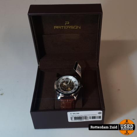 Paterson horloge automaat bruinleer II Nieuw II met garantie