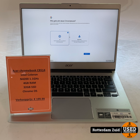 Acer chromebook CB514-1H-N18Q3 | Intel Celeron N4200 32GB SSD 4GB RAM | Met garantie