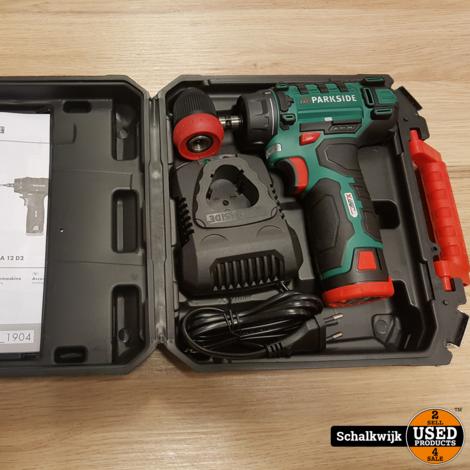 Parkside PBSA 12 D2 schroefmachine op accu 12V compleet in koffer