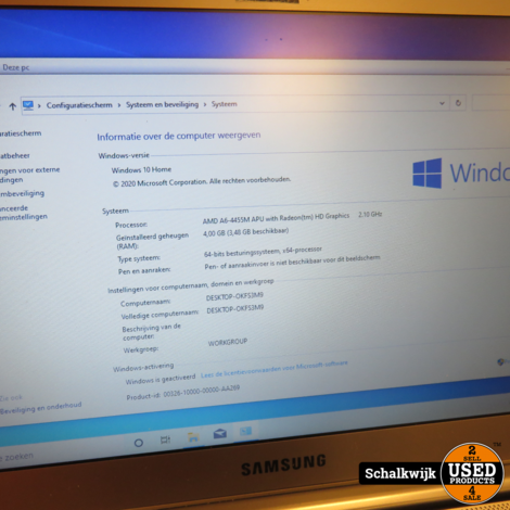 Samsung Notebook AMD 6 2.1 ghz 4GB 500HHD win 10 home