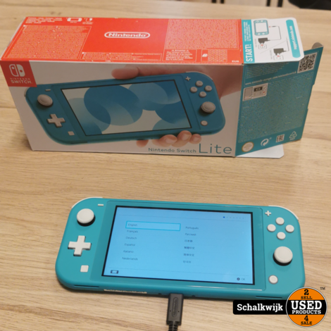 Nintendo Switch Lite 32 GB turquoise in doos met lader