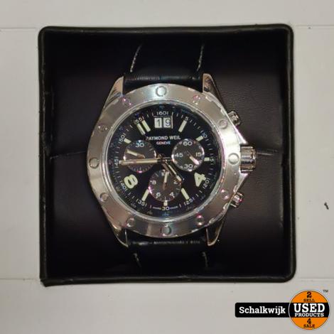 Raymond Weil 8500 horloge in nieuwstaat met leren en rubberband