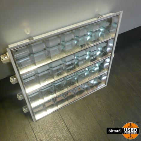 partij van 12 stuks TL armaturen 4x 18 Watt,  voor inbouw in systeemplafond