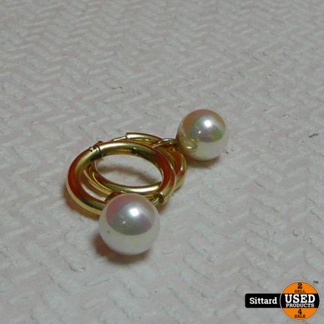 14 karaat gouden oorringen + hangers met parel