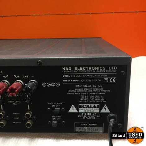 NAD Multi Channel Amplifier 916  6-kanaals eindversterker in prima staat