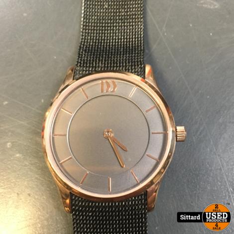 Danish Design IV71Q1063 horloge dames - grijs - edelstaal PVD rosé