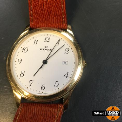 EDOX 61128 herenhorloge met leder band