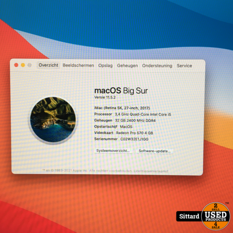 iMac (Retina 5K, 27 inch 2017) Intel i5 - 3,4GHz, 32 / 1.000 GB