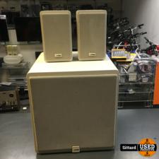 Canton Plus S speakers + Plus C Subwoofer, wit, in prima staat