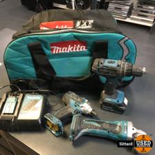 Makita set accugereedschap, boormachine, slagmoeraanzetter en haakse slijper