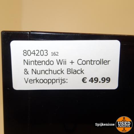 Nintendo Wii Black + Controller & Nunchuck *804203*