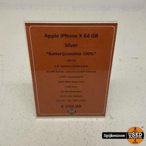 Apple iPhone X 64GB Silver *804949*