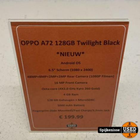 OPPO A72 128GB Twilight Black NIEUW IN DOOS *804959*