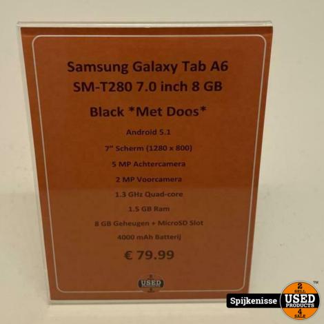 Samsung Galaxy Tab A6 8GB Black MET DOOS *805010*