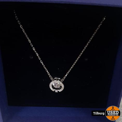 Swarovski Zilveren Ketting Met steentje en certificaat in Doos