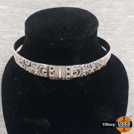 Zilveren Armband met Details Ovaal deels open