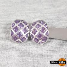 Zilveren Set Clip-ons Oorbellen met Paarse steen