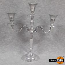 Zilveren Kandelaar voor 3 Kaarsen