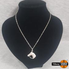 Zilveren Ketting met Hanger Paard 4.9 Gram
