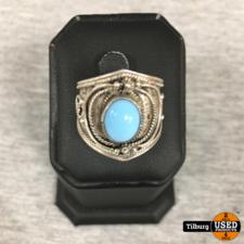 Zilveren Ring met Lichtblauwe Ovaal