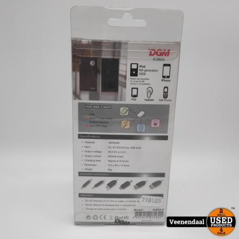 DGM ICB03-8 Powerbank 2000 mAh Zwart - Nieuw in Doos