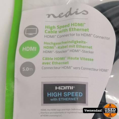 Nedis High Speed HDMi Kabel met Ethernet 5 Meter - Nieuw!