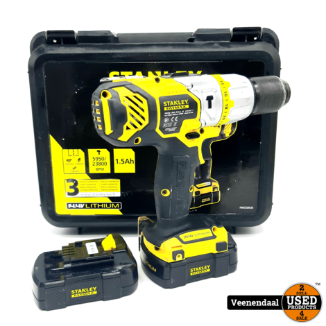 Stanley FMC520LB 14.4V Li-Ion Boormachine Set - In Goede Staat