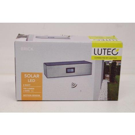 Lutec Brick P9085 Solar wandlamp met bewegingsmelder 1.5 W Naturel-wit RVS