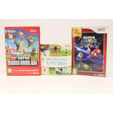 Nintendo Wii Zwart in doos met games - met garantie-