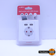 Maxxter Wall Socket with USB Charger. Nieuw in verpakking