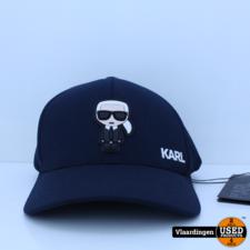 Karl Lagerfeld Karl Lagerfeld Fullcap met Karl-applicatie - Donkerblauw - Nieuw -